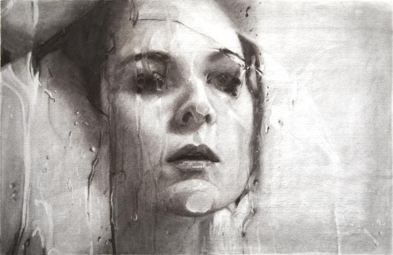 Alyssa Monks, Transfixed (drawing), 2020, vine charcoal on paper