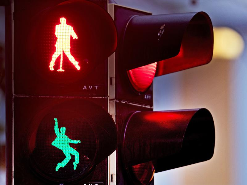 Silhouettes of Elvis Presley appear on a traffic light in Friedberg, Germany, where he was stationed as a U.S. soldier from October 1958 to March 1960.