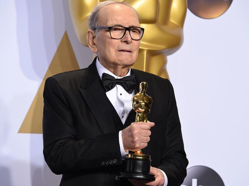 Composer Ennio Morricone, posing with his Oscar for The Hateful Eight in 2016. He died Monday at age 91 in Rome.