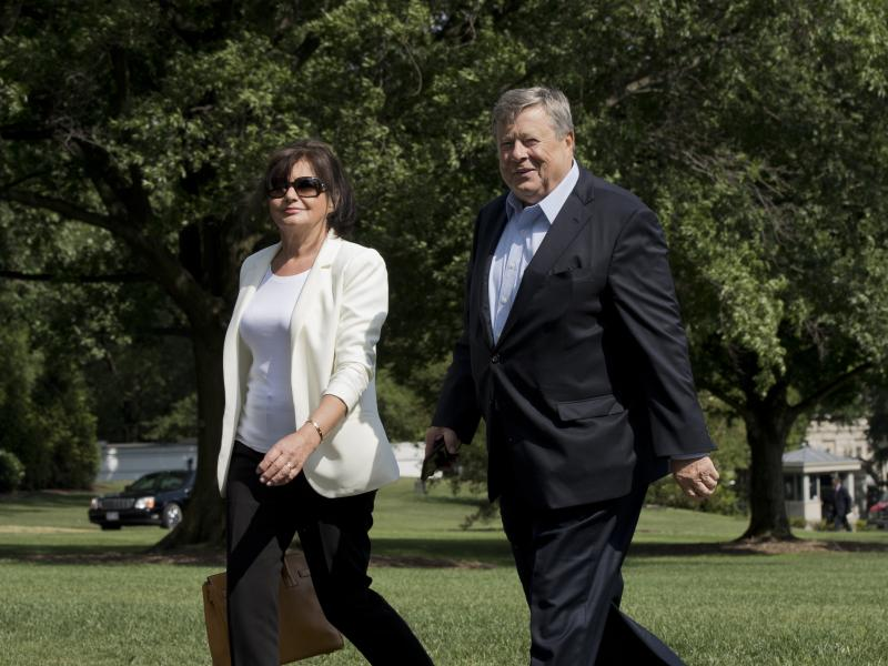 Amalija and Viktor Knavs, parents of first lady Melania Trump, walk on the South Lawn of the White House in Washington, in June 2017.