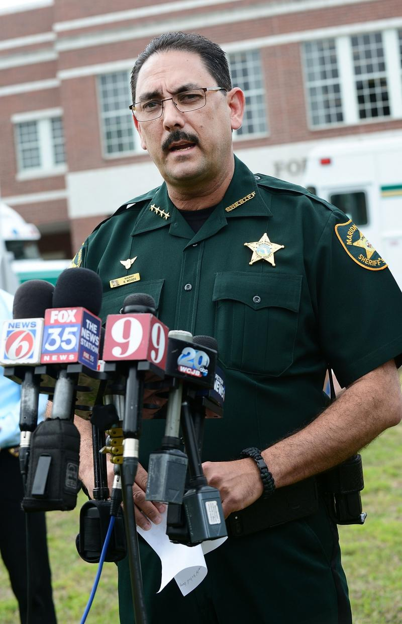 "Marion County Sheriff Billy Woods speaks during a press conference in Ocala, Fla., in 2018. Woods sent an email Tuesday informing the approximately 900 people working in the department that ""when you are on-duty/working as my employee and representing my"