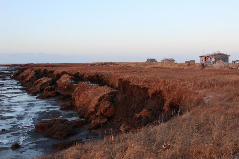 During a storm, the Alaskan village of Newtok can lose 10 to 20 feet of tundra. Erosion is getting worse because of warming temperatures and record low sea ice.