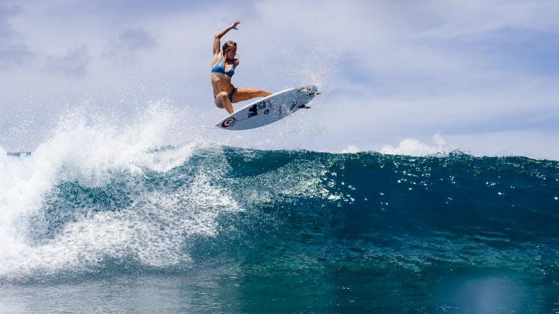 """""""Sometimes I just want to hide in my island home back in Hawaii and keep things simple,"""" says surfer Bethany Hamilton. But she believes her story can be an example of """"inspiration and hope"""" for young people."""