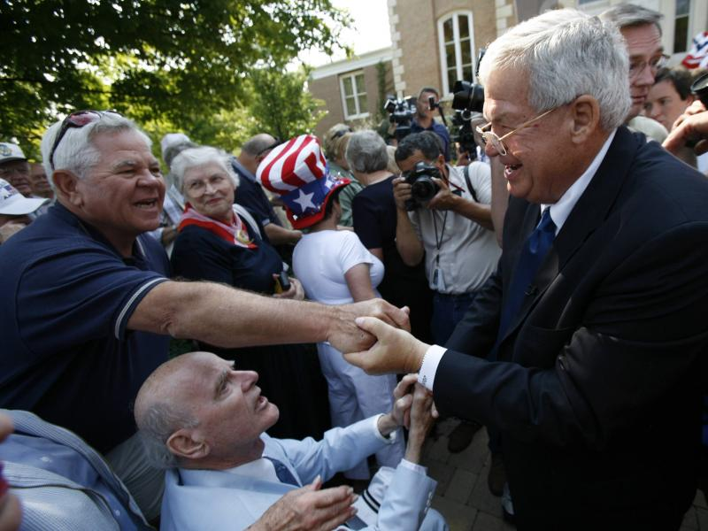 Then-U.S. Rep. Dennis Hastert greets a supporter in Yorkville, Ill., in August 2007, after he announced that he would not seek another term in Congress. Hastert was indicted May 28 on charges of evading cash-withdrawal reporting requirements and lying to