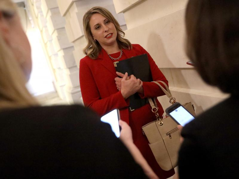 Then-Rep. Katie Hill answers questions from reporters at the U.S. Capitol following her final speech on the floor of the House of Representatives Oct. 31, 2019 in Washington, D.C.