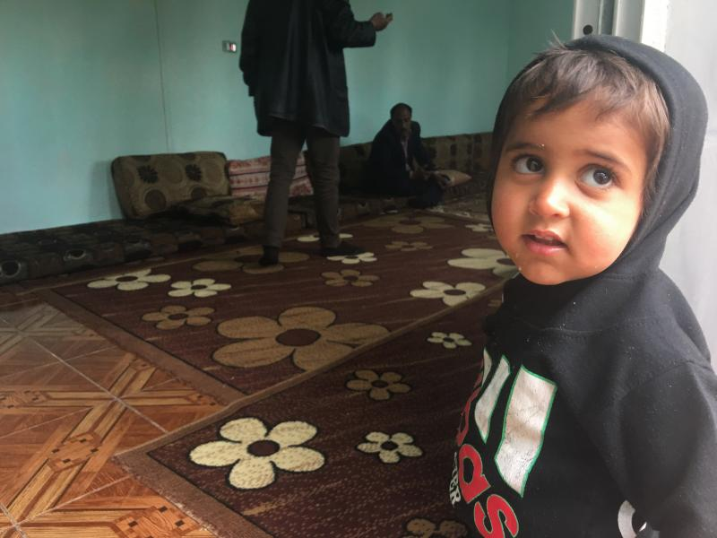 Ibrahim, 2, in northeastern Syria a few hours after his freed Yazidi mother returned to Iraq without him. Ibrahim's father was an ISIS fighter. Although his mother wanted to take him home, the Yazidis do not allow children of ISIS fathers to live with the