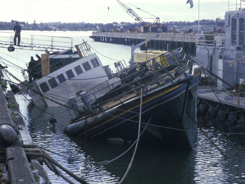 The Greenpeace vessel Rainbow Warrior after an underwater explosion in Auckland, New Zealand, in July 1985.