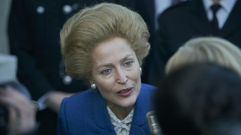 Gillian Anderson portrays British Prime Minister Margaret Thatcher in The Crown.