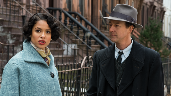 "Edward Norton (shown here with co-star Gugu Mbatha-Raw) describes his Motherless Brooklyn character as a sad and lonely ""street kid."""