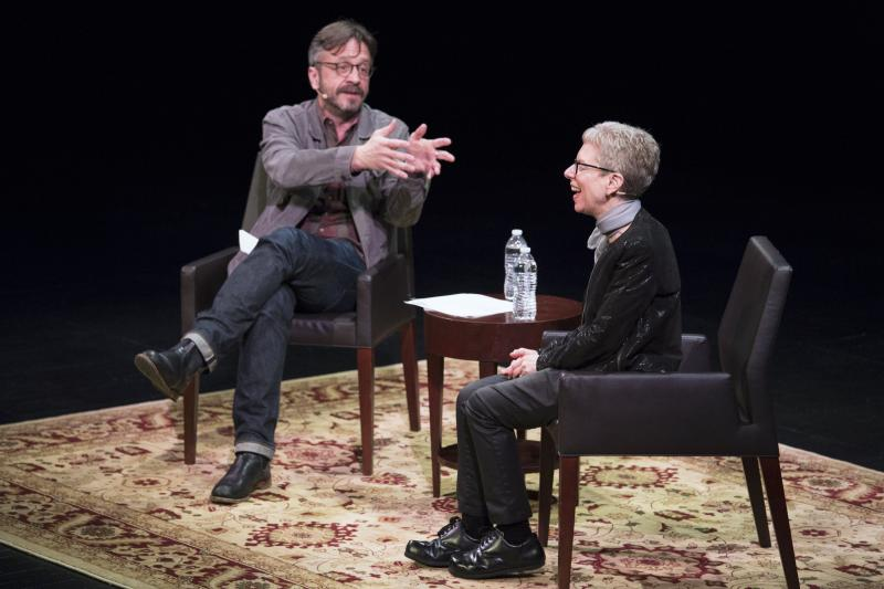 """Terry Gross and Marc Maron took the stage at WNYC's RadioLoveFest on May 6. During their conversation, Gross says, Maron """"occasionally looked a little nervous or frustrated when he thought I was unforthcoming — or worse yet, being dull --€"""" but mostly"""