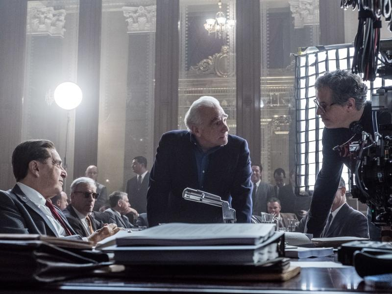 Martin Scorsese (center) has been nominated for an Academy Award for best director for The Irishman. The film is up for 10 Academy Awards, including best film.