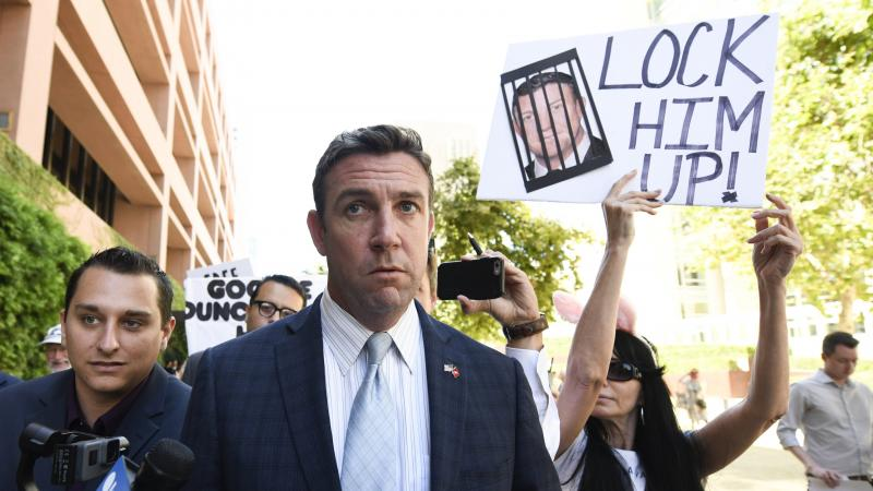 Rep. Duncan Hunter, R-Calif.,  leaves federal court after a hearing in San Diego in July.