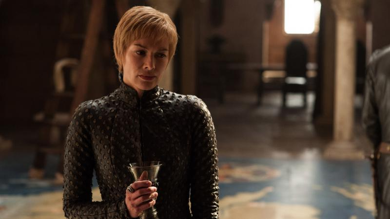 """Pinot Noir!/Lann-is-star!/Have-I per-haps gone too-far?"": Queen Cersei (Lena Headey) takes a sip or twelve of wine in the premiere episode of Game of Thrones' seventh season."