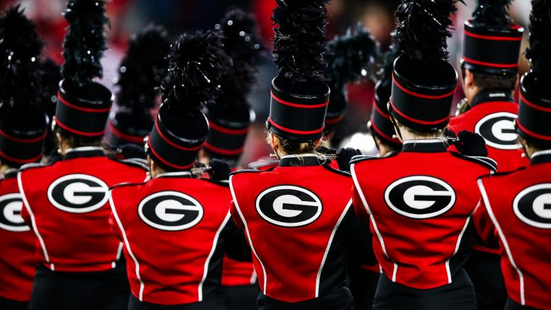 """The University of Georgia's marching band, seen during a football game last November in Athens. The band's acting director, Brett Bawcum, announced that it would no longer play """"Tara's Theme"""" from Gone with the Wind. The film has attracted criticism for i"""