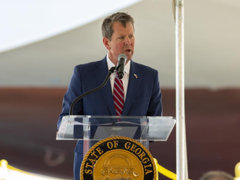 Georgia Gov. Brian Kemp, pictured at an event last month, signed the Living Infants Fairness and Equality Act on Tuesday.