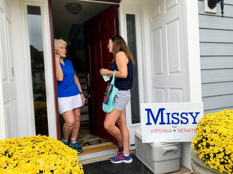 "Canvassing for votes in Virginia Beach, Democrat Missy Cotter Smasal meets voter Mildred Manger. ""It's just stupid that everybody has to have a gun,"" Manger says. ""I mean, give me a break!"""