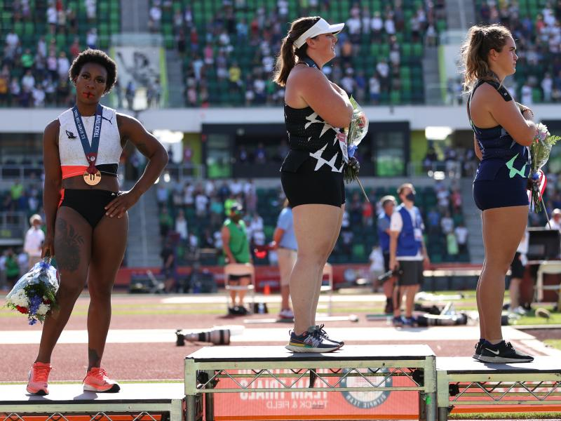 Gwen Berry turned away from the U.S. flag during the national anthem at the U.S. Olympic Track & Field Team Trials.
