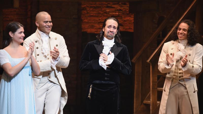 Phillipa Soo (from left), Christopher Jackson, Lin-Manuel Miranda and Anthony Ramos attend Miranda's final performance of Hamilton on Broadway, on July 9, 2016.