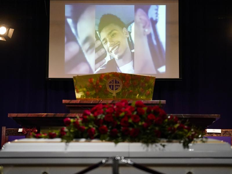 Family images play on a screen before funeral services for Daunte Wright at Shiloh Temple International Ministries in Minneapolis on Thursday.