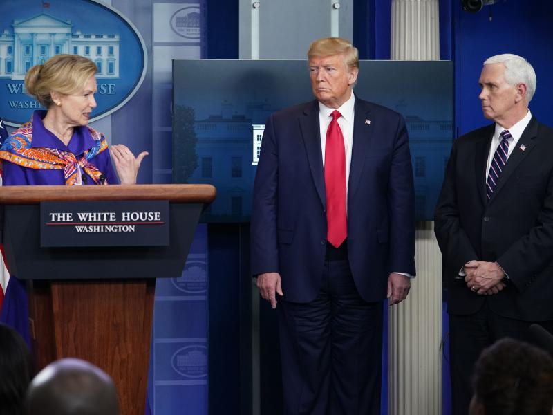 Response coordinator for White House Coronavirus Task Force Dr. Deborah Birx speaks as President Trump and Vice President Trump listen at Wednesday's briefing.