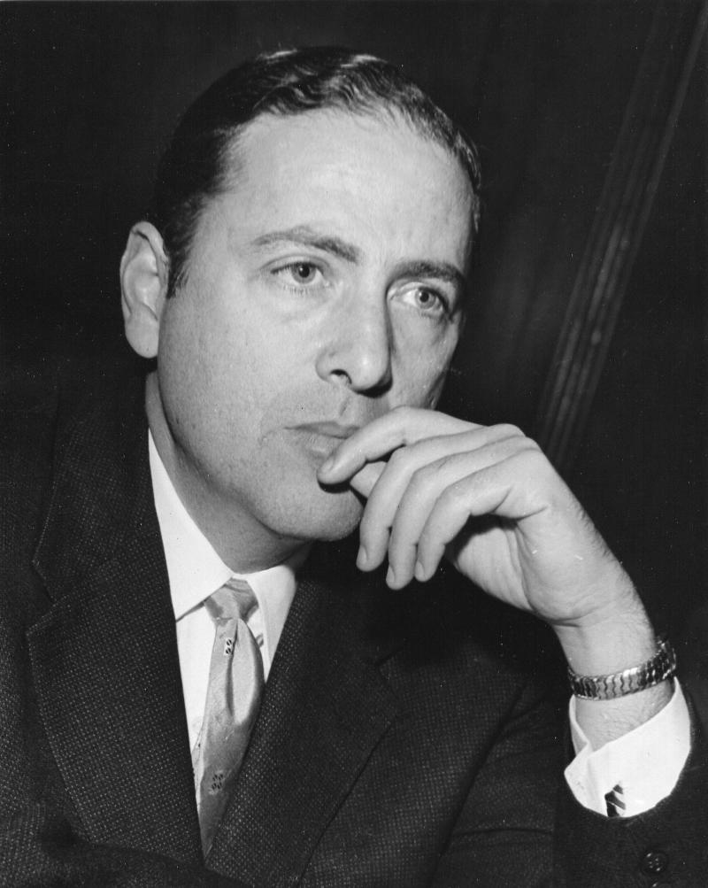 Novelist Herman Wouk, pictured here in 1955, wrote about a variety of subjects, including World War II, the publishing world and a fictional Caribbean island.