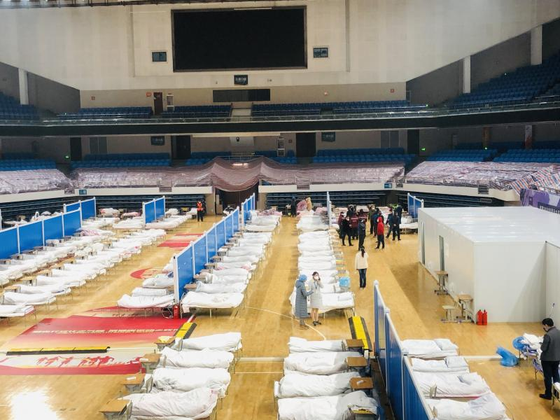 An interior view of the Hongshan Gymnasium, a venue converted into a makeshift hospital to receive patients infected with the novel coronavirus (2019-nCoV) in Wuhan, China, on Wednesday.