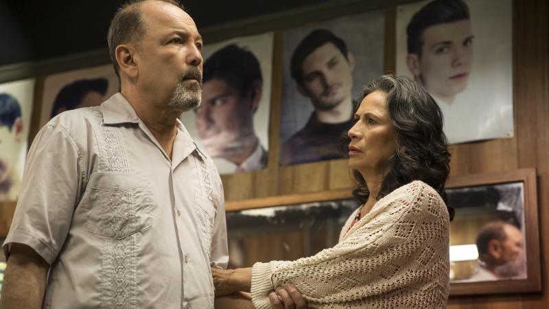 Ruben Blades as Daniel Salazar and Patricia Reyes Spíndola as Griselda Salazar in Fear the Walking Dead.