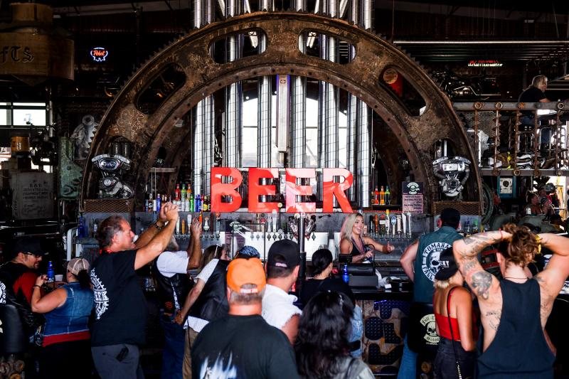 The Full Throttle Saloon in Sturgis, S.D., draws a crowd earlier this month during the 80th annual Sturgis Motorcycle Rally.