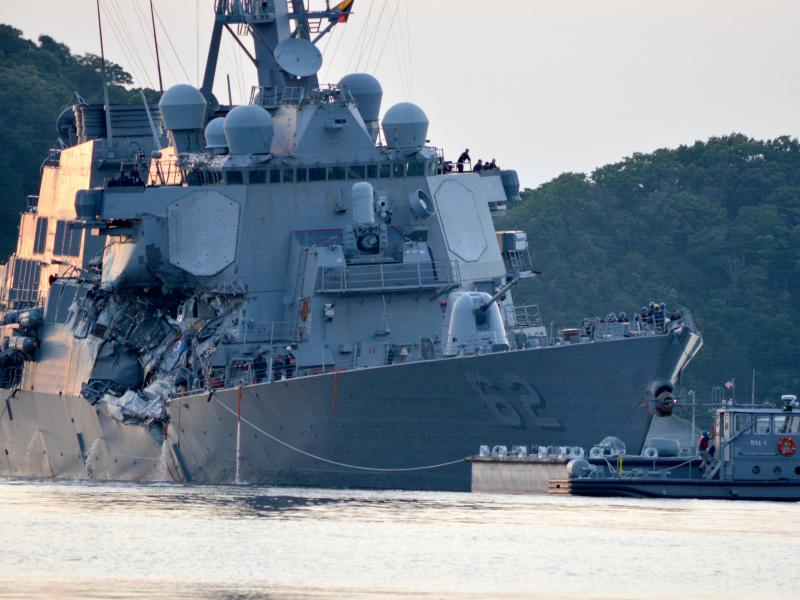 The USS Fitzgerald returns to Fleet Activities Yokosuka following a collision with a merchant vessel while operating southwest of Yokosuka, Japan.