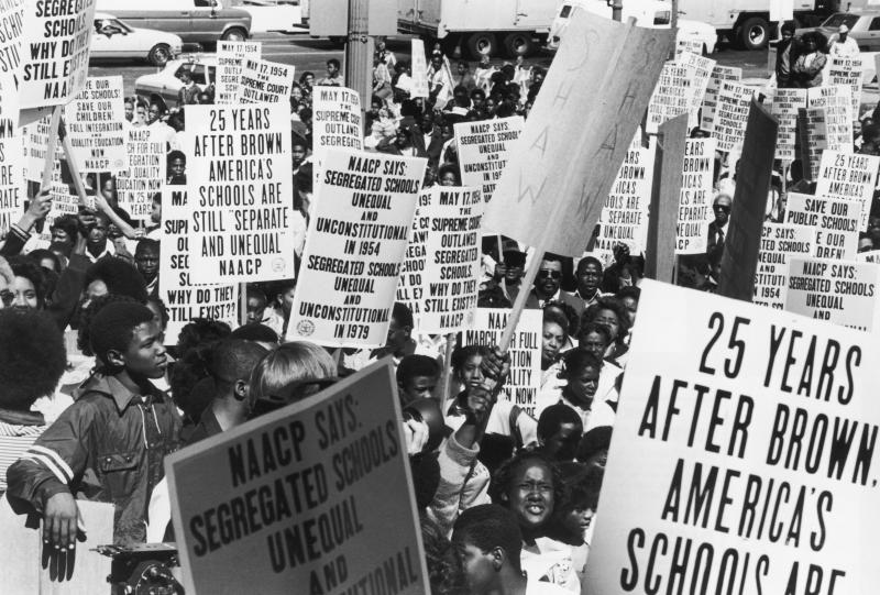 Students and members of the NAACP  march in Washington in May 1979, the 25th anniversary of the U.S. Supreme Court's ruling which ended racial segregation in American schools.