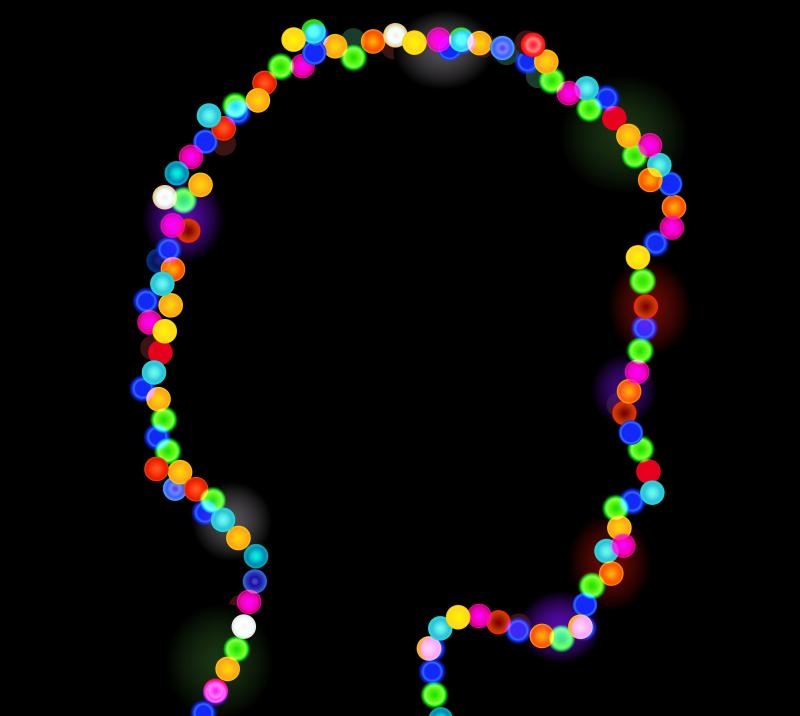 Colorful lights in the shape of a woman's head.