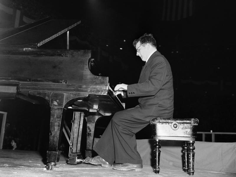 Dmitri Shostakovich, Russian composer-member of the Soviet delegation to the Cultural and Scientific conference for World Peace, plays the second movement of his Fifth Symphony at Madison Square Garden in New York City on March 27, 1949.