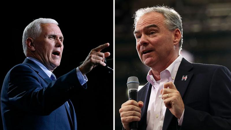 L: Republican vice presidential nominee Mike Pence speaks at a campaign rally Aug. 31 in Phoenix. R: Democratic vice presidential nominee Tim Kaine speaks at a campaign event Aug. 1 in Richmond, Va.