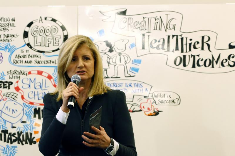 "Arianna Huffington, president and editor-in-chief of The Huffington Post Media Group, speaks at the 2014 World Economic Forum. Reporters and editors in 15 countries will contribute to ""What Works,"" her site's new initiative focused on covering positive ne"