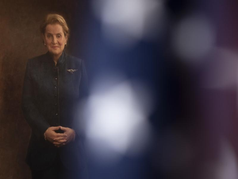 A portrait of former Secretary of State Madeleine Albright hangs in the State Department's Treaty Room, in Washington, D.C, on Feb. 27, 2020.