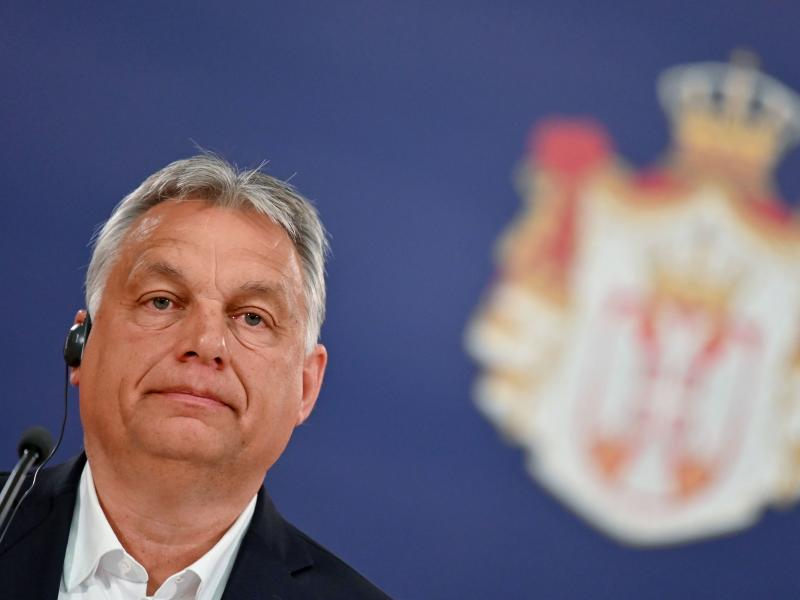 Hungarian Prime Minister Viktor Orbán at a news conference on May 15.