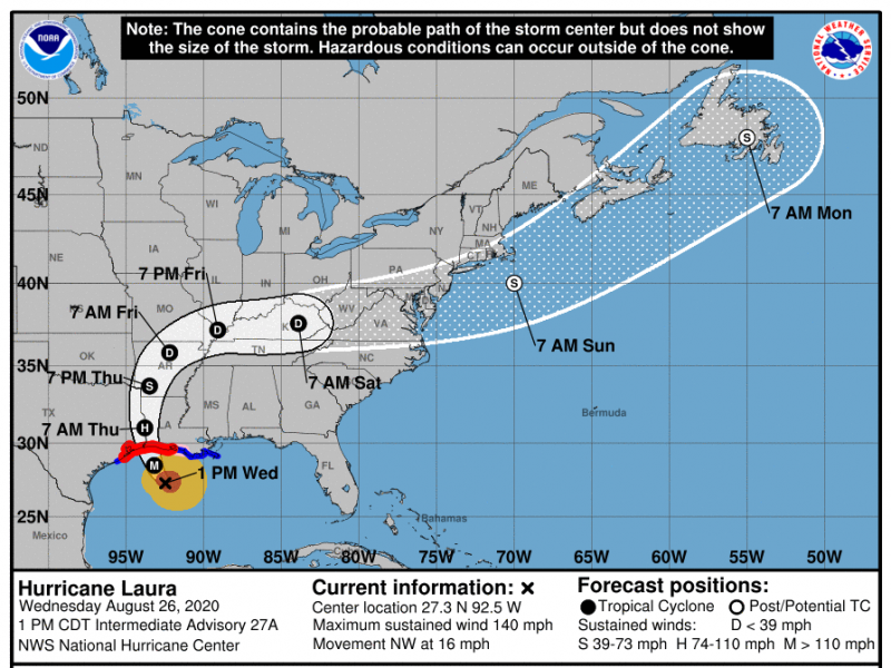 The National Hurricane Center predicts that Hurricane Laura will make landfall as a Category 4 storm.