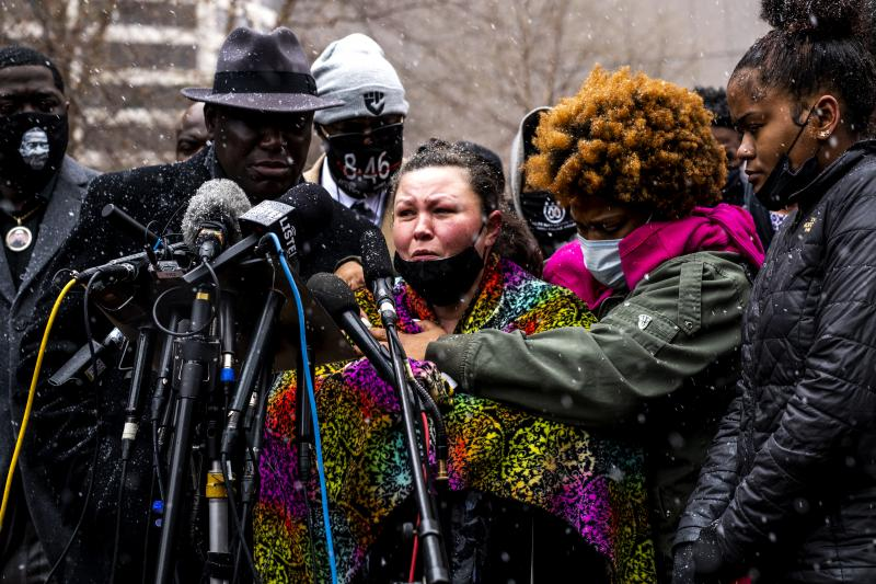 Katie Wright, mother of Daunte, broke into tears Tuesday recounting her last conversation with her son, who called her for advice after being pulled over by police. An officer shot him shortly after.