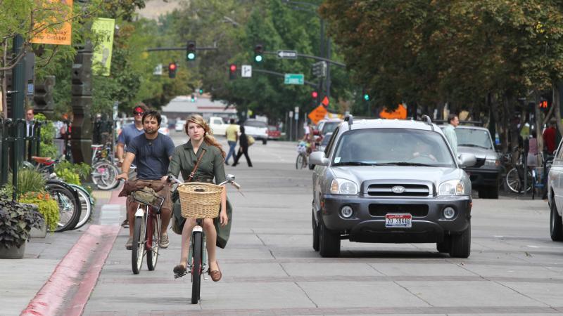 Bikers pedal through downtown Boise, Idaho, on Sept. 14, 2010.