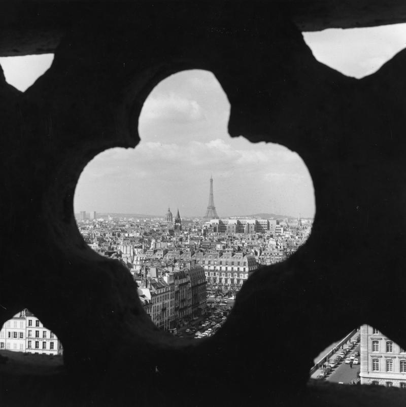 A view of Paris through a detail in the stonework of Notre Dame.