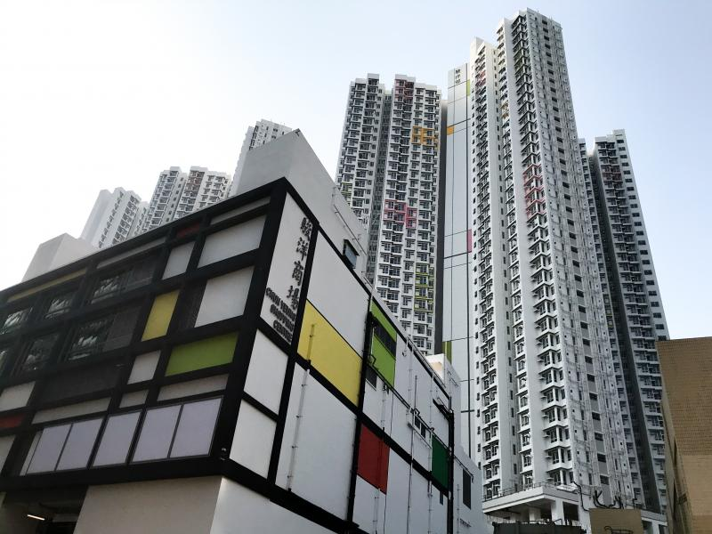 A new apartment complex in Hong Kong, called the Chun Yeung Estate, is being turned into a quarantine center.