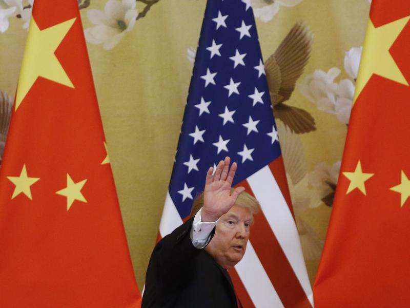 President Trump joined Chinese President Xi Jinping at the Great Hall of the People on Nov. 9 in Beijing.