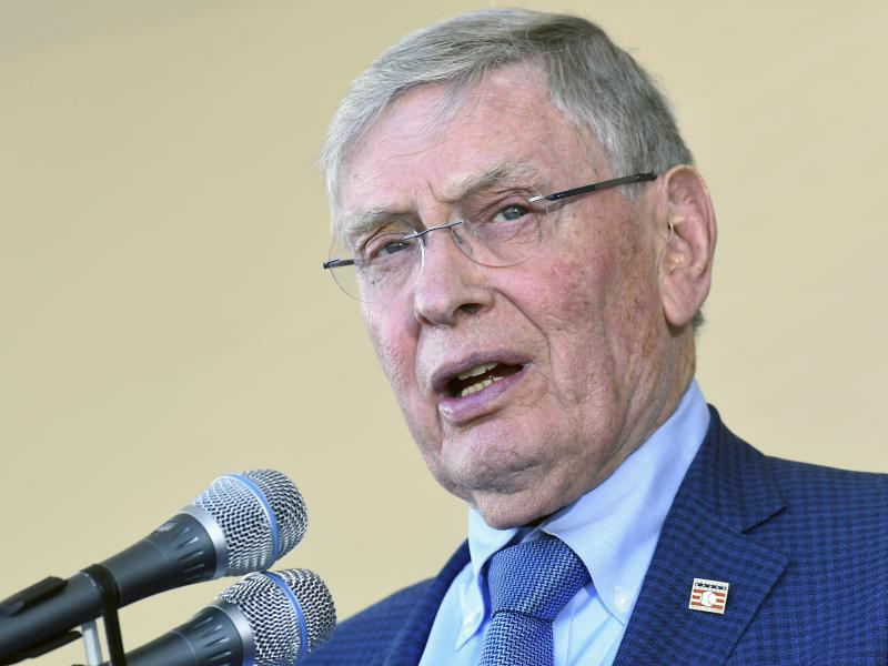 Major League Baseball Commissioner Bud Selig speaks during a Hall of Fame induction ceremony at the Clark Sports Center on July 30, 2017, in Cooperstown, N.Y.