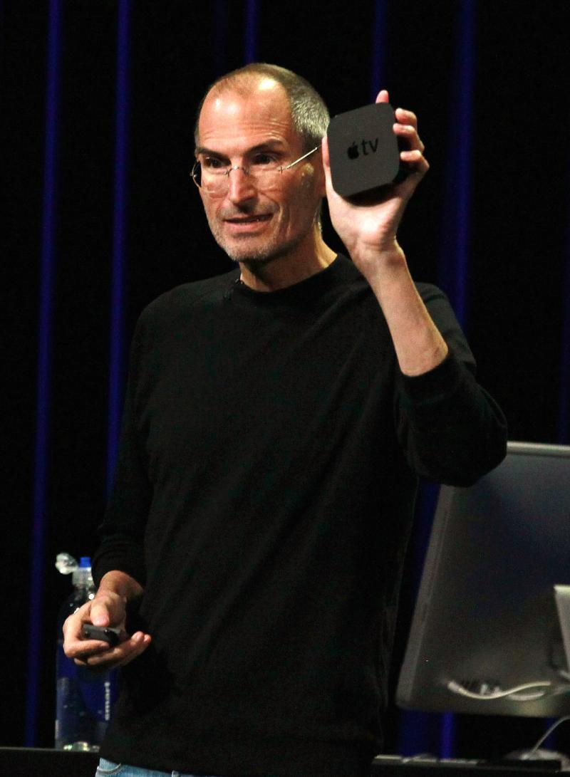 Steve Jobs shows off a second-generation Apple TV during a press event in September 2010.