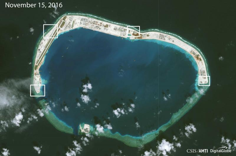 Highlighting new areas of Chinese construction on Mischief Reef, a monitoring group says that in addition to an airstrip, the artificial island will likely be outfitted with large anti-aircraft guns and a cruise missile defense system.