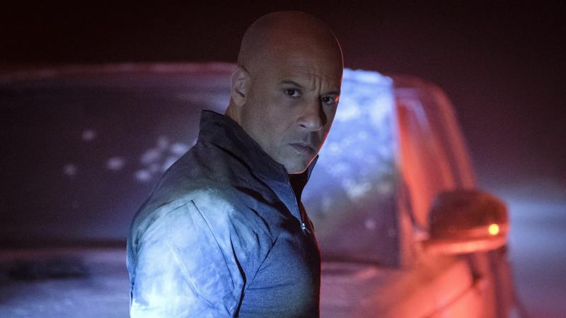 Bloodshot (Vin Diesel) looks vexed, or surprised or possibly dyspeptic, in Bloodshot.