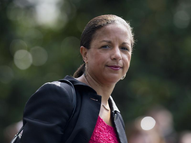 Then National Security Adviser Susan Rice follows President Barack Obama across the South Lawn of the White House in Washington, to board Marine One, on July 7, 2016.