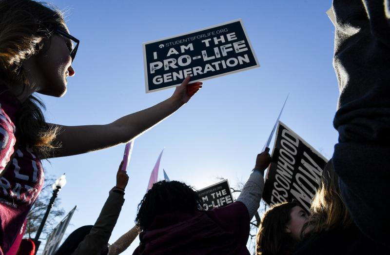 Opponents of abortion rights rallied outside the U.S. Supreme Court during The March for Life on Friday in Washington, D.C.