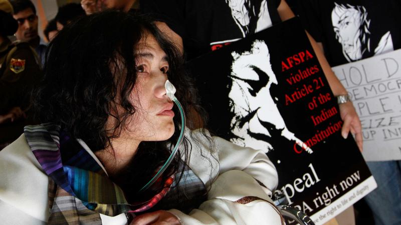 """Known as the """"Iron Lady of Manipur,"""" Sharmila arrives in New Delhi in March 2013, more than 12 years into her hunger strike. She was called into a Delhi court after being accused of attempting suicide."""