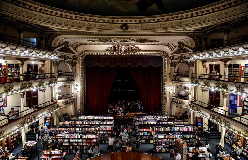 """When the Gran Splendid Theater in Buenos Aires was converted into a branch of the Ateneo bookstore, the stage became a cafe. It was just named """"the world's most beautiful bookstore"""" by National Geographic."""